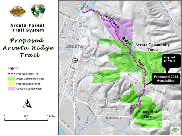 Proposed Arcata Ridge Trail Map showing the forest system and several details, including the forest