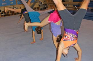 Kids doing handstands on a blue padded floor