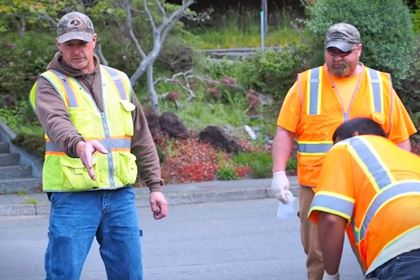 Utilities Supervisor Mike Clinton works with the Arcata Underground Utilities Crew.