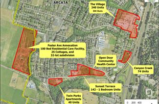 Map of Development Projects across Arcata