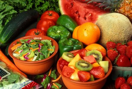 Bowls of fruits and vegetables