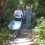 Volunteers build a trail in the Arcata Community Forest